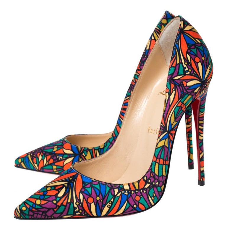 Christian Louboutin Multicolor Satin So Kate Pointed Toe Pumps Size 38 1