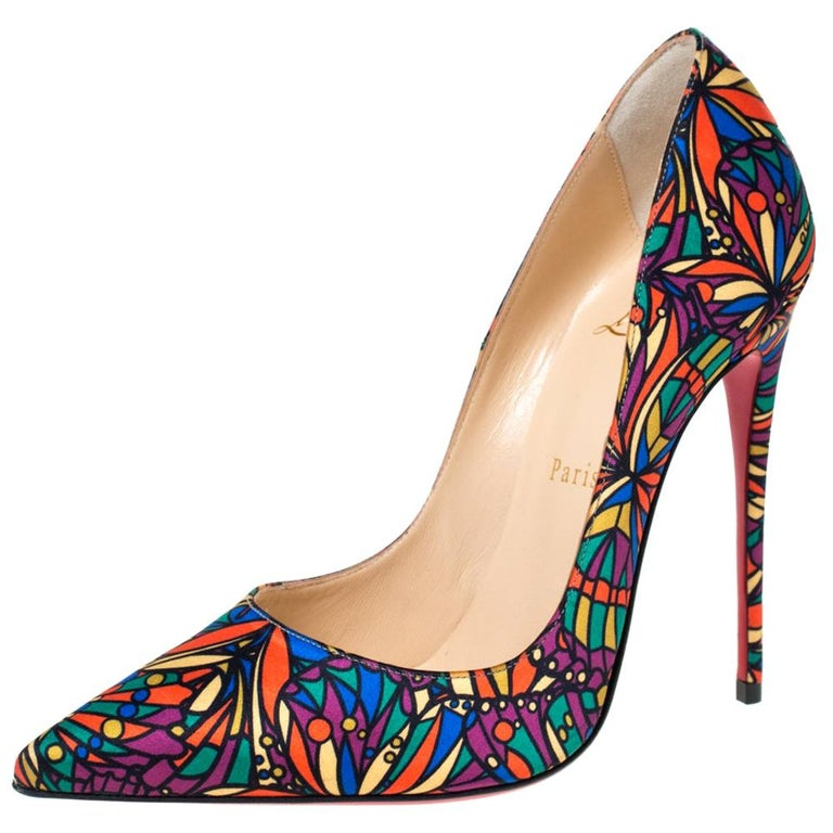 Christian Louboutin Multicolor Satin So Kate Pointed Toe Pumps Size 38