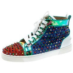 Christian Louboutin Multicolor Suede Louis Spikes High-Top Sneakers Size 40