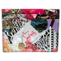 Christian Louboutin Multicolor Trash Print Kios Spiked Card Holder