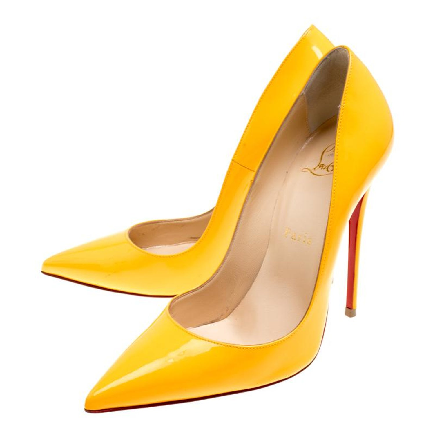003e355f39e4 Mustard Yellow Patent Leather Pigalle Pointed Toe Pumps Size 37.5 For Sale  at 1stdibs