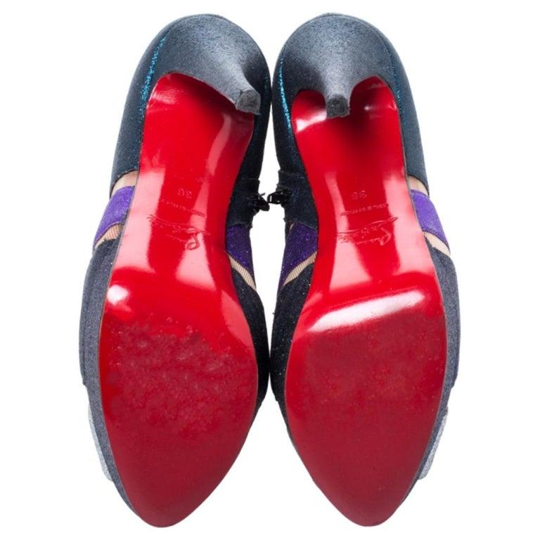 Christian Louboutin Mutlicolor Glitter Ziggy Peep Toe Ankle Booties Size 36 In Good Condition For Sale In Dubai, Al Qouz 2