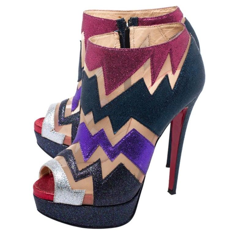 Christian Louboutin Mutlicolor Glitter Ziggy Peep Toe Ankle Booties Size 36 For Sale 1