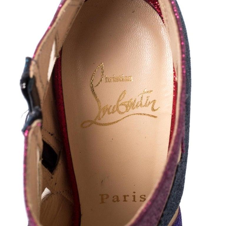 Christian Louboutin Mutlicolor Glitter Ziggy Peep Toe Ankle Booties Size 36 For Sale 2