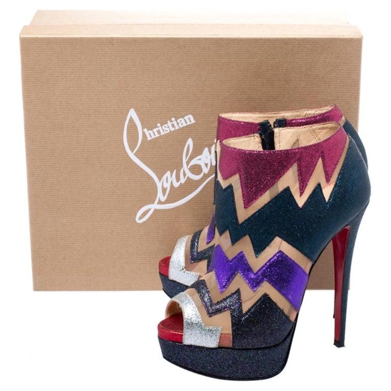 Christian Louboutin Mutlicolor Glitter Ziggy Peep Toe Ankle Booties Size 36 For Sale 3