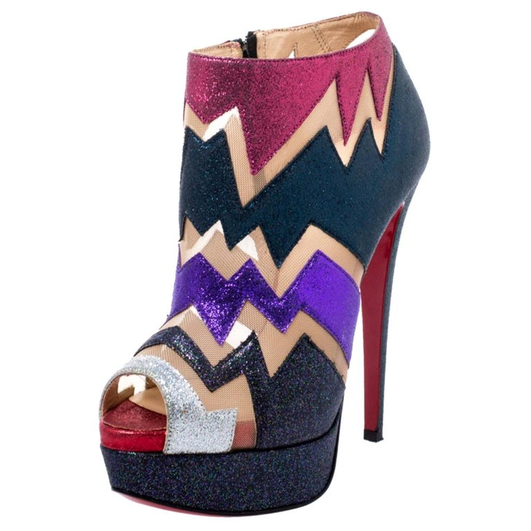 Christian Louboutin Mutlicolor Glitter Ziggy Peep Toe Ankle Booties Size 36 For Sale