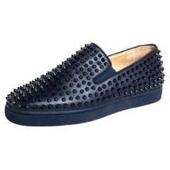 Christian Louboutin Navy Blue Leather Spikes Slip On Sneakers Size 44