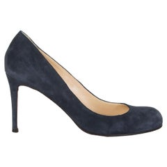 CHRISTIAN LOUBOUTIN navy blue suede SIMPLE PUMP 85 Pumps Shoes 37.5
