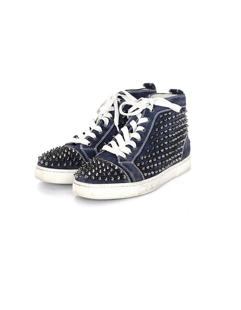 Black Christian Louboutin Navy Suede Louis Spiked Hi Top Sneakers Sz 40.5 W/ 2 DB For Sale