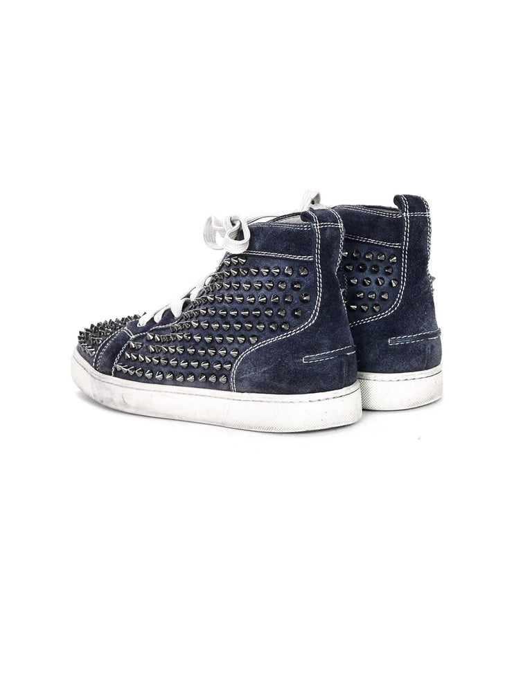 brand new 62ca8 60a40 Christian Louboutin Navy Suede Louis Spiked Hi Top Sneakers Sz 40.5 W/ 2 DB