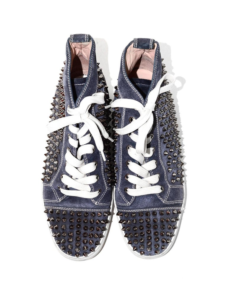 Women's Christian Louboutin Navy Suede Louis Spiked Hi Top Sneakers Sz 40.5 W/ 2 DB For Sale