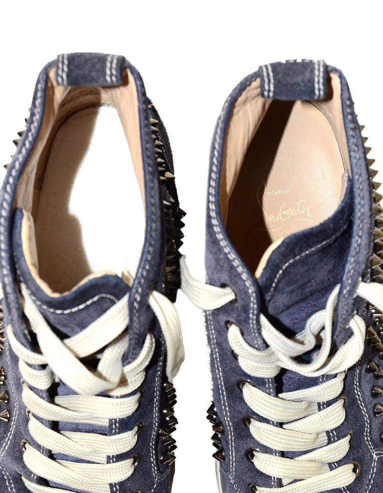 Christian Louboutin Navy Suede Louis Spiked Hi Top Sneakers Sz 40.5 W/ 2 DB For Sale 2