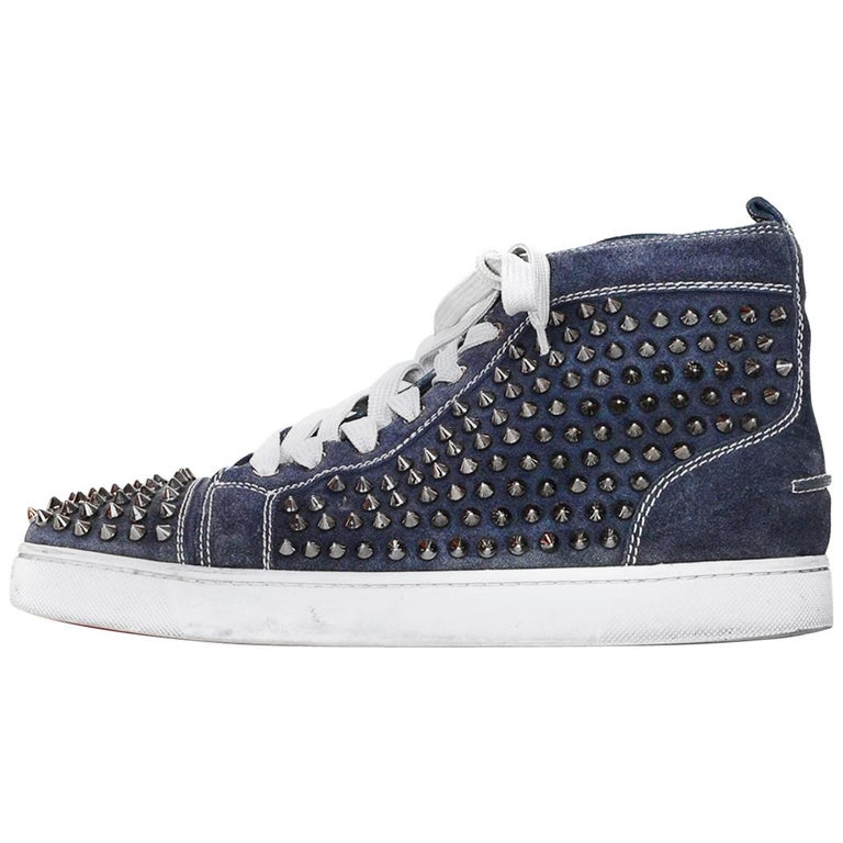 Christian Louboutin Navy Suede Louis Spiked Hi Top Sneakers Sz 40.5 W/ 2 DB For Sale