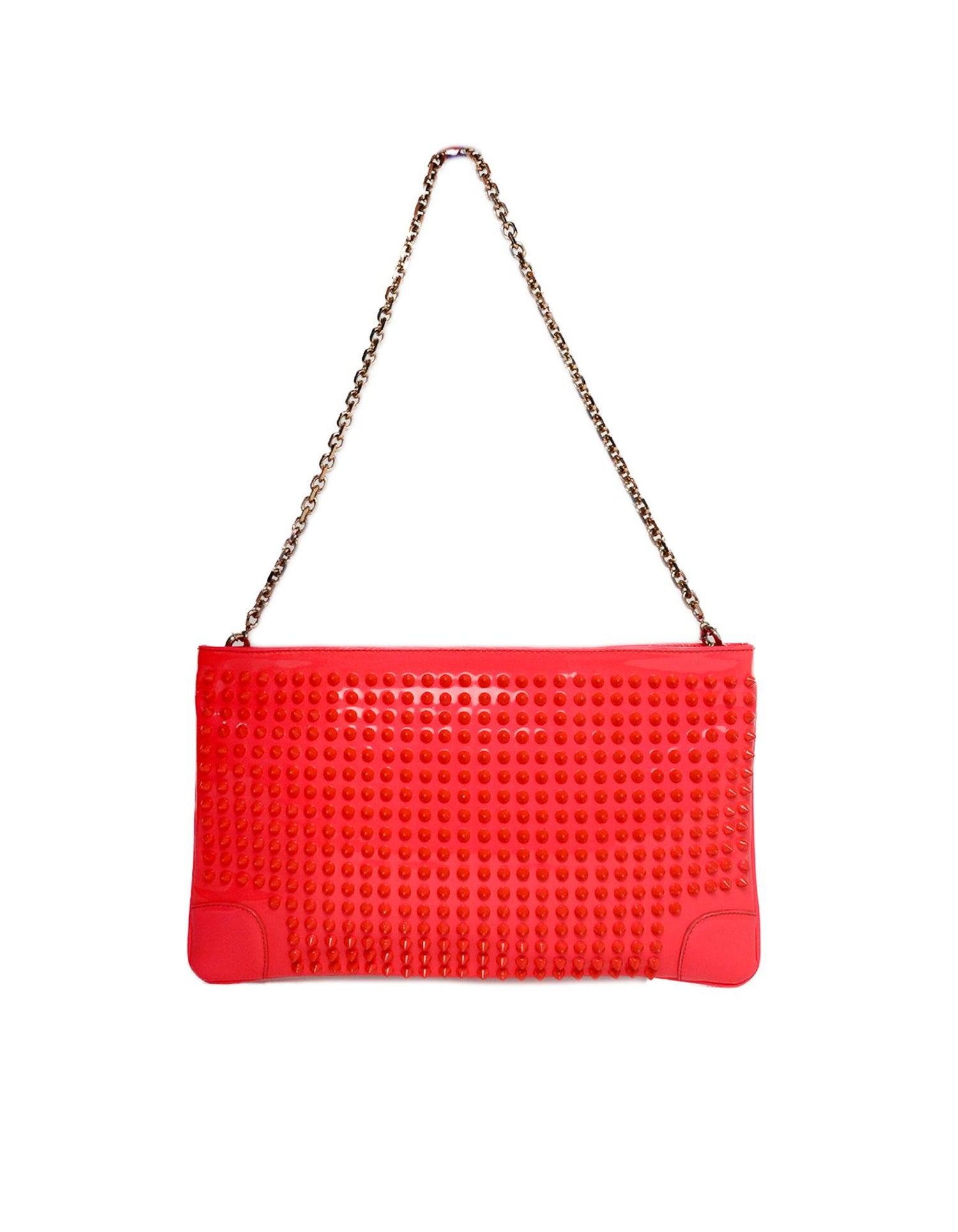 bbd3b9c5989 Christian Louboutin Neon Patent Leather Loubiposh Spiked Clutch/Pochette Bag