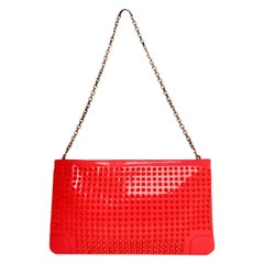 Christian Louboutin Neon Patent Leather Loubiposh Spiked Clutch/Pochette Bag