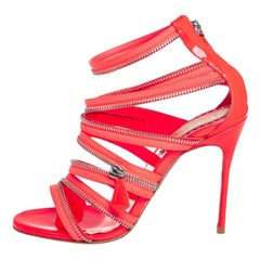 Christian Louboutin Neon Pink Fabric And Leather Unzip Booties Size 36.5