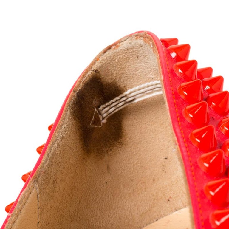 Christian Louboutin Neon Pink Patent Leather Pigalle Spikes Pumps Size 35.5 1