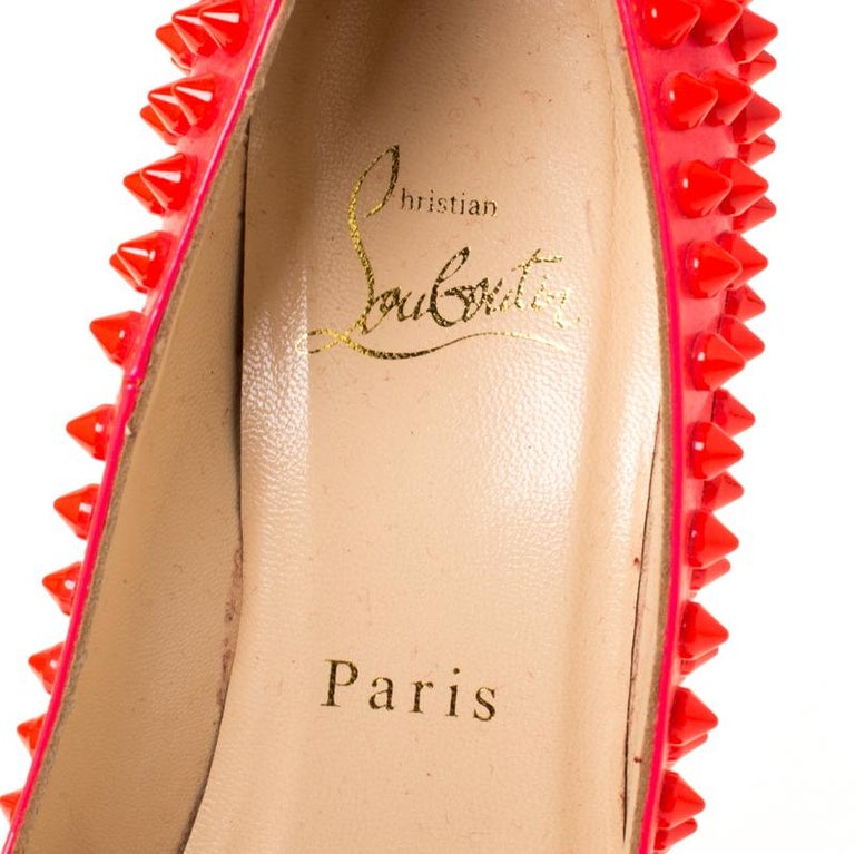 Christian Louboutin Neon Pink Patent Leather Pigalle Spikes Pumps Size 35.5 2