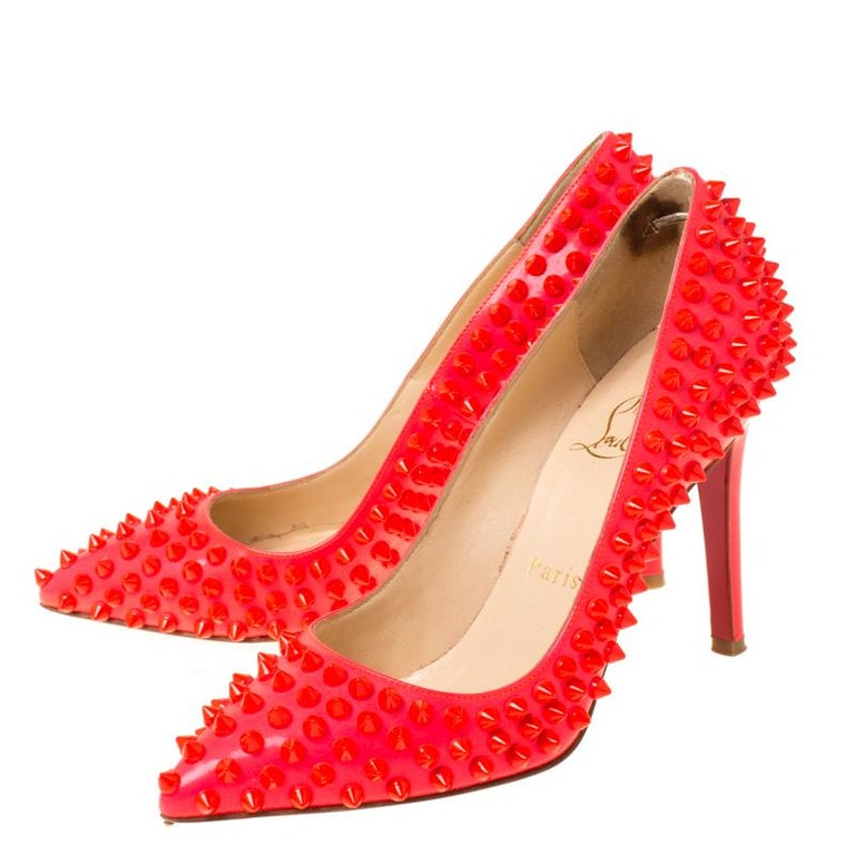 Christian Louboutin Neon Pink Patent Leather Pigalle Spikes Pumps Size 35.5 4