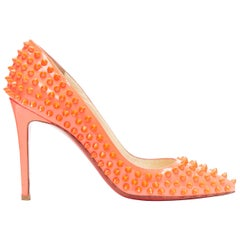 CHRISTIAN LOUBOUTIN neon pink patent spike stud point toe pigalle pump EU37.5