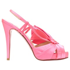 CHRISTIAN LOUBOUTIN neon pink satin bow peep toe sling back peep toe pump EU38