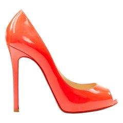 CHRISTIAN LOUBOUTIN neon shocking pink patent peep toe platform heel EU35.5
