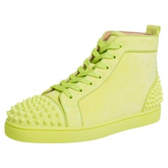 Christian Louboutin Neon Suede Louis Spikes Sneakers Size 40