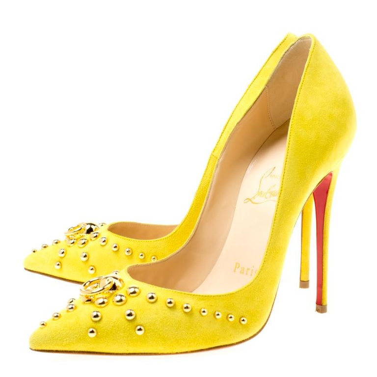 the best attitude 47f67 e5f5e Christian Louboutin Neon Yellow Suede Door Knock Pointed Toe Pumps Size 35