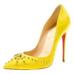 Christian Louboutin Neon Yellow Suede Door Knock Pointed Toe Pumps Size 35