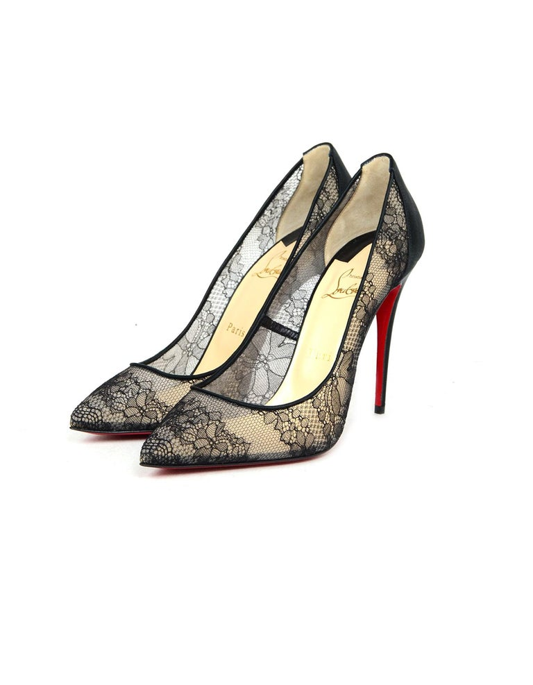 Christian Louboutin NEW Black Follies Alencon Satin Lace Pumps Sz 39.5 In  New Condition For Sale 0bc41b17e