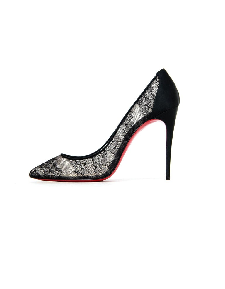 0d0804f2a083 Christian Louboutin NEW Black Follies Alencon Satin Lace Pumps Sz 39.5 For  Sale