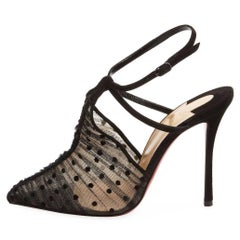 Christian Louboutin New Black Leather Mesh Evening Sandals Heels