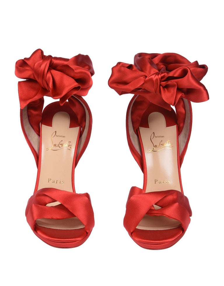 0931fb2c535 Christian Louboutin NEW Red Satin Bow Evening Sandals Pumps Heels in Box