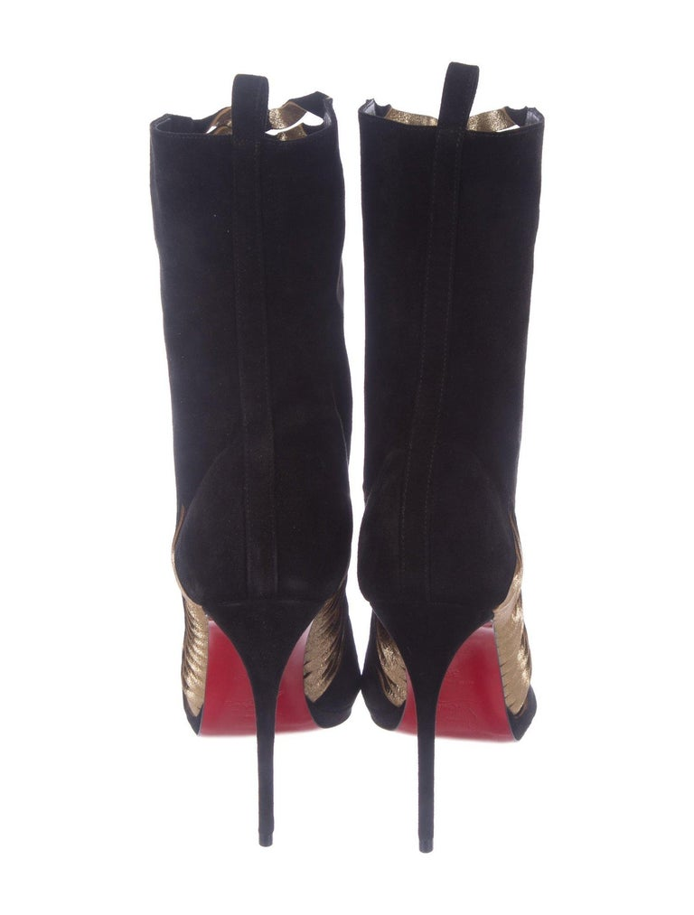 wholesale dealer 7891a 1cedf Christian Louboutin NEW Black Suede Gold Leather Ankle Boots Booties in Box