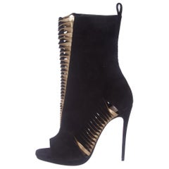 Christian Louboutin NEW Black Suede Gold Leather Ankle Boots Booties in Box