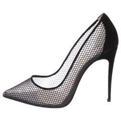 Christian Louboutin NEW Black Suede Mesh Evening Heels Pumps