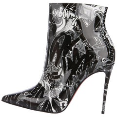 Christian Louboutin NEW Black White Patent Graffiti Ankle Booties Boots in Box