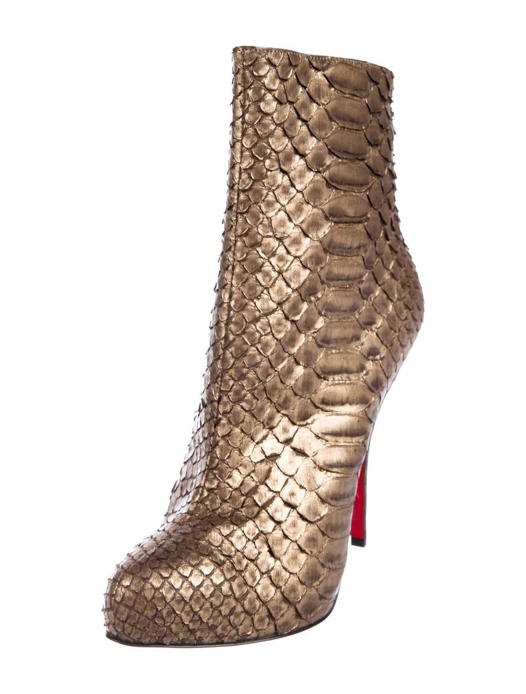 Christian Louboutin NEW Bronze Gold Snakeskin Ankle Booties Boots   Size IT 38.5 Snakeskin Zip closure  Made in Italy Heel height 5