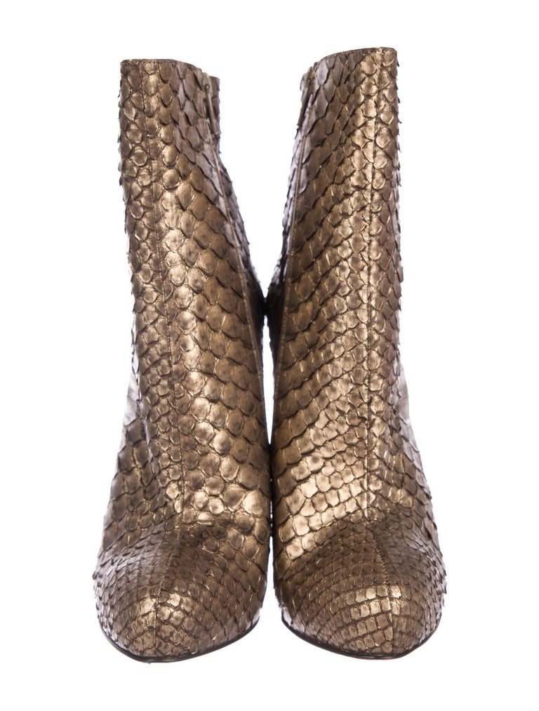 Christian Louboutin NEW Bronze Gold Snakeskin Ankle Booties Boots  In New Condition For Sale In Chicago, IL