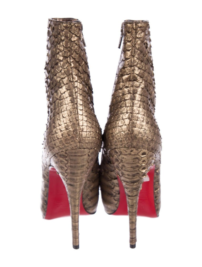 Women's Christian Louboutin NEW Bronze Gold Snakeskin Ankle Booties Boots  For Sale