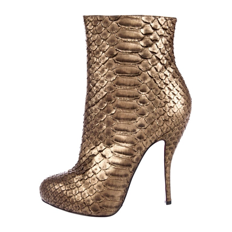Christian Louboutin NEW Bronze Gold Snakeskin Ankle Booties Boots  For Sale