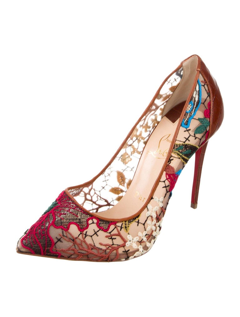 Christian Louboutin NEW Brown Leather Flower Mesh Evening Pumps Heels  In New Condition For Sale In Chicago, IL