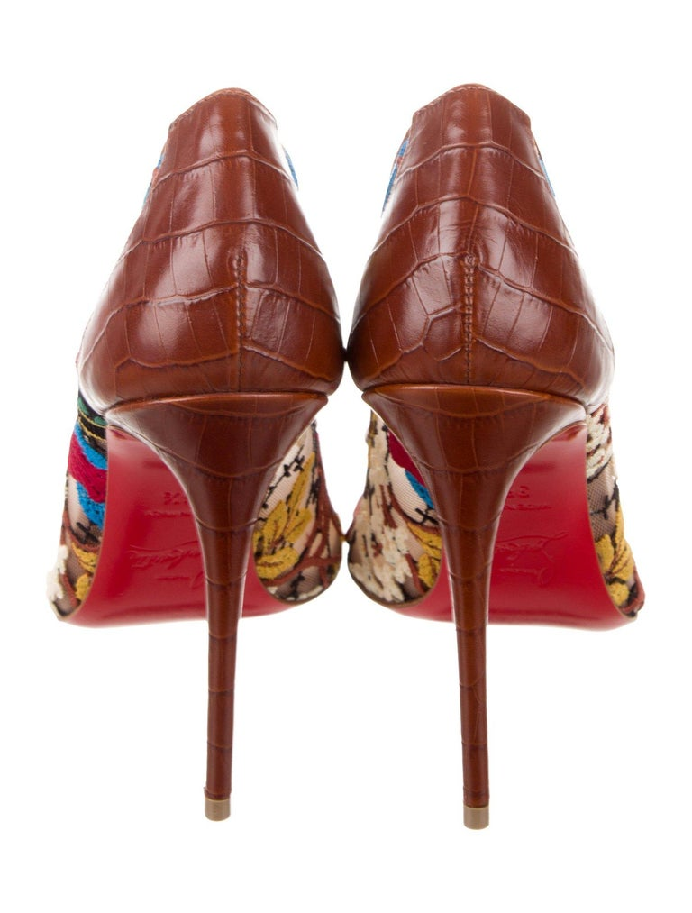 Women's Christian Louboutin NEW Brown Leather Flower Mesh Evening Pumps Heels  For Sale
