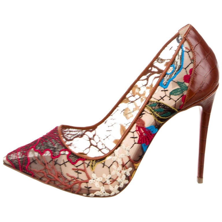 Christian Louboutin NEW Brown Leather Flower Mesh Evening Pumps Heels  For Sale