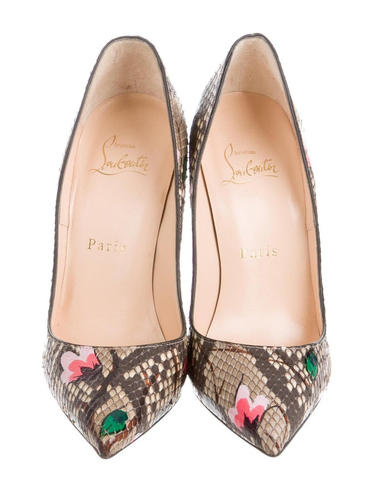 Christian Louboutin NEW Brown Snakeskin Flower Pink Painted Evening Heels Pumps  In New Condition For Sale In Chicago, IL