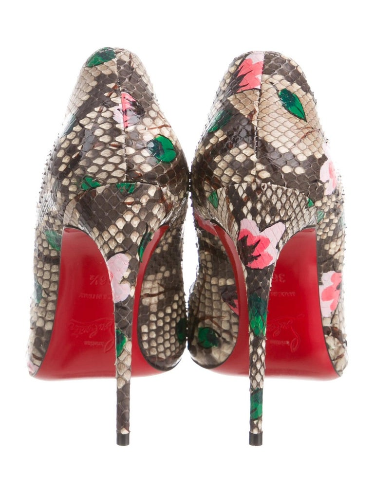 Women's Christian Louboutin NEW Brown Snakeskin Flower Pink Painted Evening Heels Pumps  For Sale
