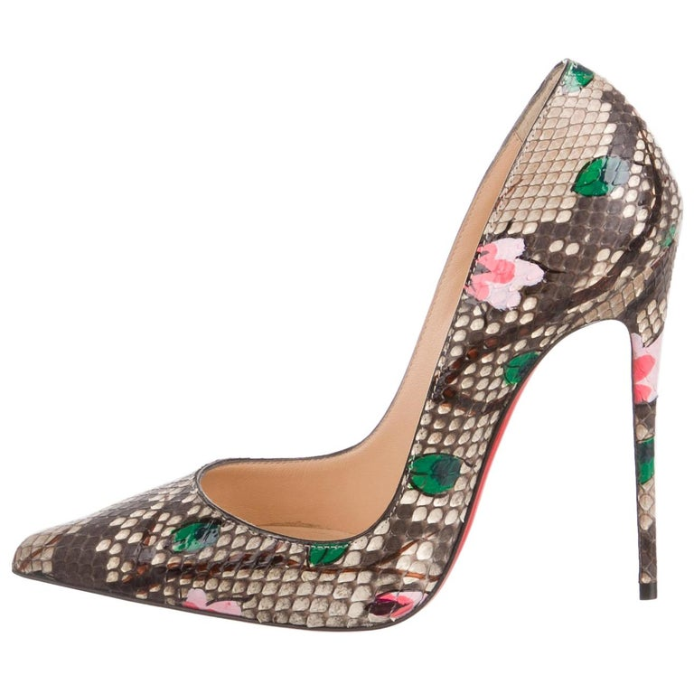 Christian Louboutin NEW Brown Snakeskin Flower Pink Painted Evening Heels Pumps  For Sale