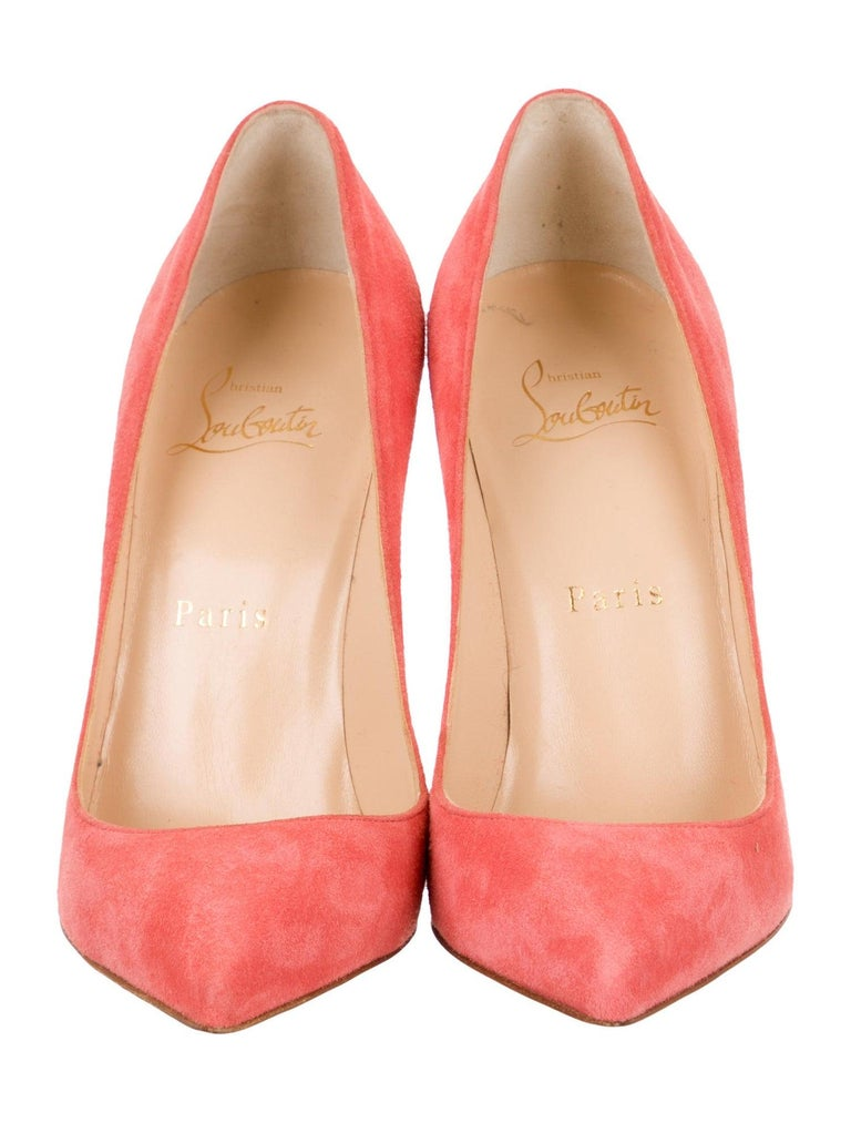 Christian Louboutin NEW Coral Suede Leather Pumps Heels in Box  Size IT 36 Suede Slip on Made in Italy Heel height 4