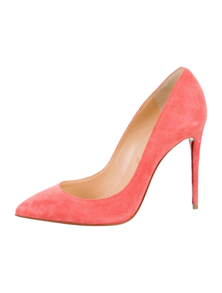 Christian Louboutin NEW Coral Suede Leather Pumps Heels in Box In New Condition For Sale In Chicago, IL