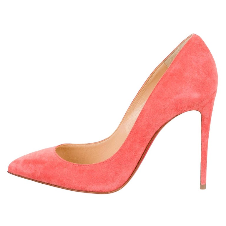 Christian Louboutin NEW Coral Suede Leather Pumps Heels in Box For Sale